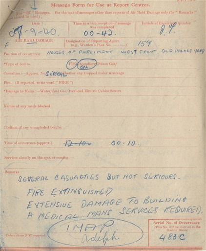 Photo:ARP Message Form , Old Palace Yard, 27 September 1940