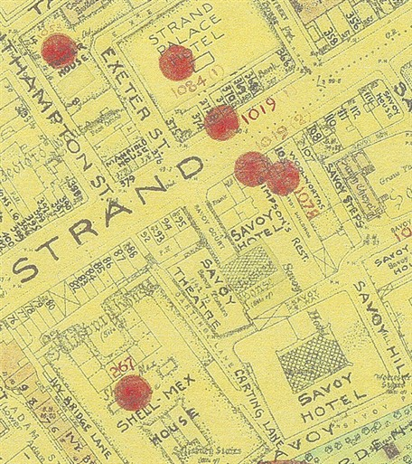 Photo:Bomb Map: The Strand, 16 November 1940