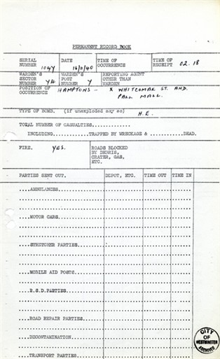 Photo:ARP Permanent Record Book, Hampton's, 16 November 1940