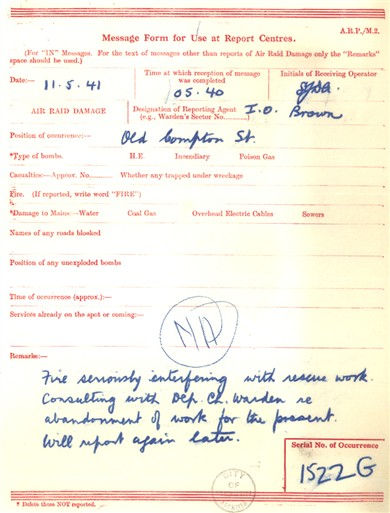 Photo:ARP Message Form , Old Compton Street, 1941