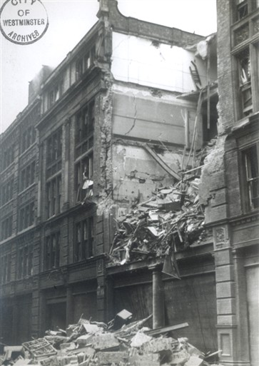 Photo:Damage to Army & Navy Stores warehouse, Greencoat Place, 1940