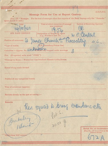 Photo:ARP Message Form, St James's Church, 1940