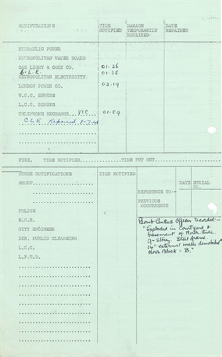 Photo:Westminster Gardens, 11 May 1941: Second Page of Incident Report