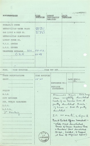 Photo:ARP Damage Report, Oranmore Mews, 11 May 1941