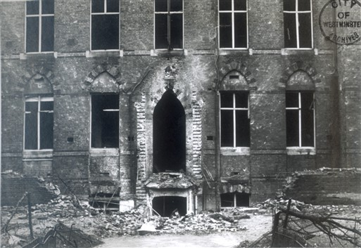 Photo:Damage to Westminster City School, Palace Street, 1940