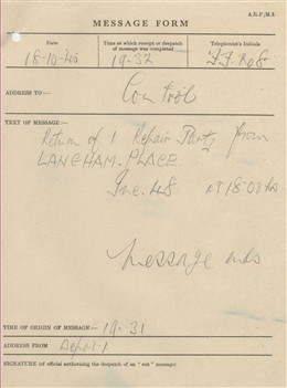 Photo:ARP Message Form, Langham Hotel, October 1940