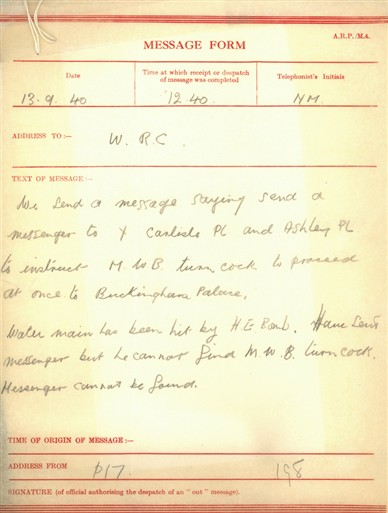 Photo:Message form describes bomb damage on 13 September 1940