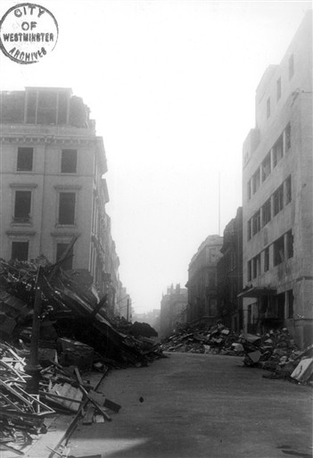 Photo:Bomb damage to 21A Savile Row,opposite the West End Central Police Station