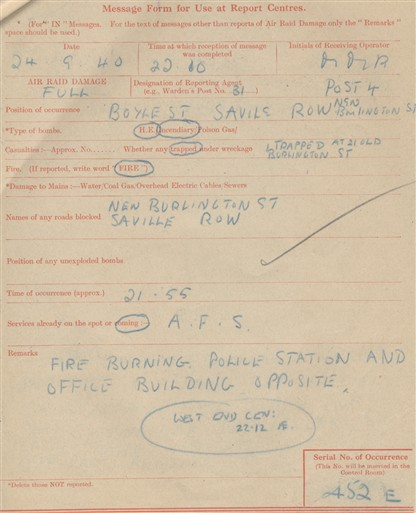 Photo:ARP Message Form , Savile Row, 24 September 1940