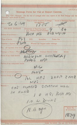 Photo:City Of Westminster ARP Message Form, Aldwych, 30 June 1944