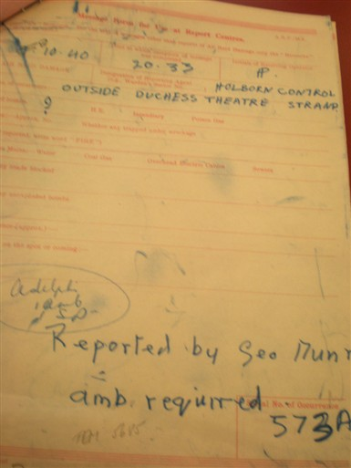Photo:ARP Message form, Duchess Theatre, 8 October 1940