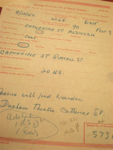 Photo:ARP Message, Duchess Theatre, 8 October 1940