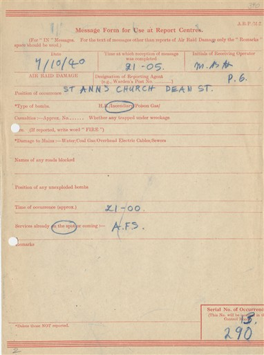 Photo:ARP Message Form, St Anne's Church, Soho, 1940