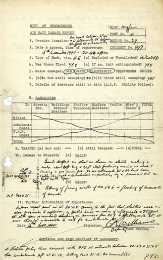 Photo:ARP Report, Albermarle Street W1, 15 November 1940