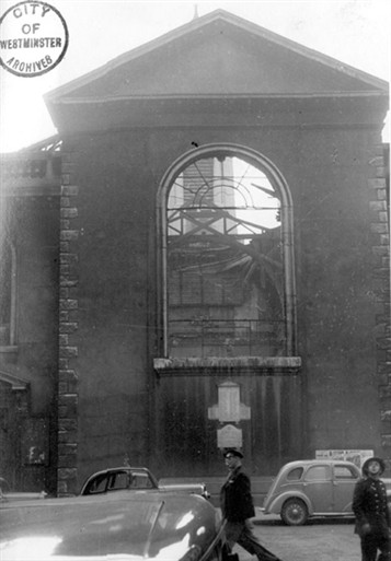 Photo:Damage to St Anne's Church, Soho, 7 October 1940