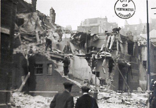 Photo:Old Pye Street, November 1940: Bomb Damage