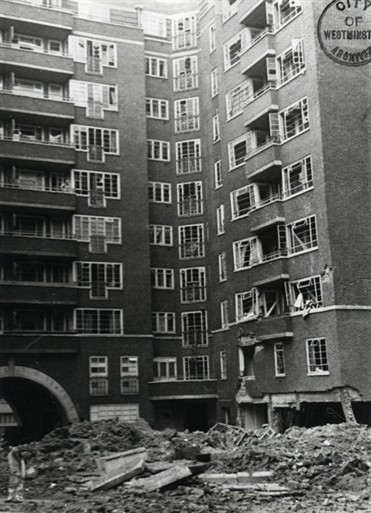 Photo:Westminster Gardens, May 1941: Bomb Damage