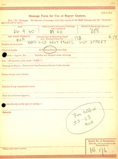 Photo:ARP Message Form, Army & Navy Stores, 24 September 1940