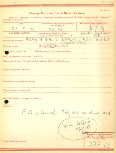Photo:ARP Message Form, Army & Navy Stores Warehouse, 25 September 1940