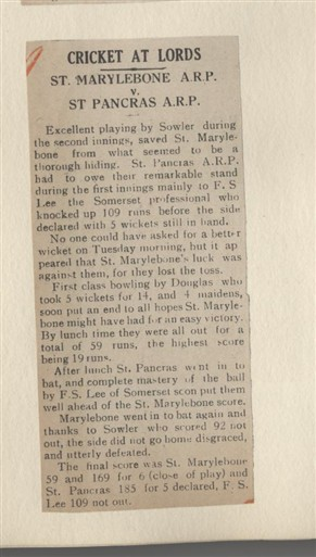 Photo:Article from the Marylebone Record with the results of a cricket match between groups of air raid wardens