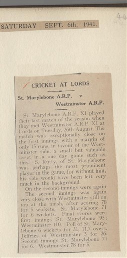 Photo:1941 article from The Record and West London News about another cricket match between two groups of air raid wardens