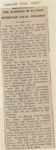 Photo:1943 article from The Record and West London News about a party thrown for children by their local ARP