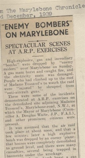 Photo:Excerpt from 1939 article from The Marylebone Chronicle detailing an ARP demonstration