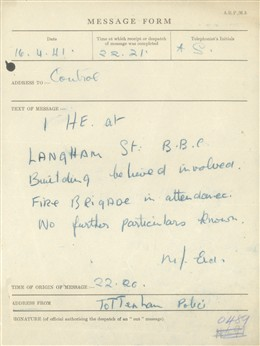 Photo:St Marylebone ARP Message Form , BBC Broadcasting House, April 1941