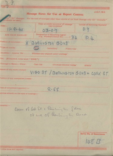 Photo:ARP Message Form, Burlington Arcade, Garden End, 1940