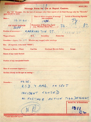 Photo:ARP Message, Carrington Street, 16/11/1940