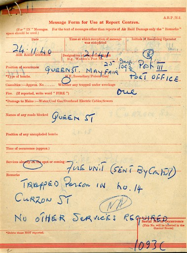 Photo:ARP Message, Queen Street, 24/11/1940