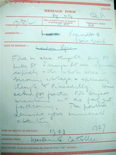 Photo:ARP Message Form: Fire report around Jermyn Street, 17 April 1941