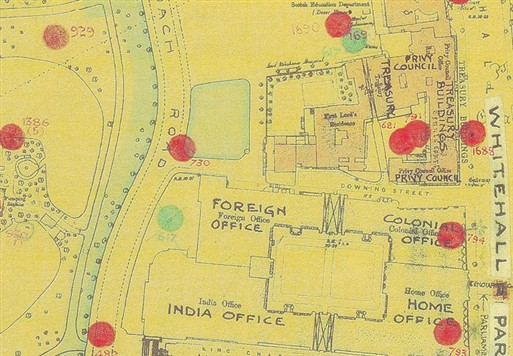 Photo:Bomb Map: Downing Street, Foreign Office and St James's Park SW1