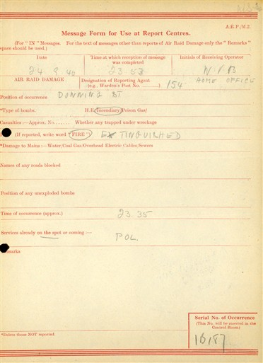 Photo:ARP Message Form, Downing Street, 24 September 1940