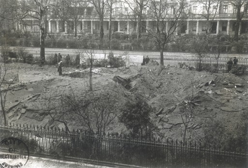 Photo:Damage to the trench shelter, Eaton Square