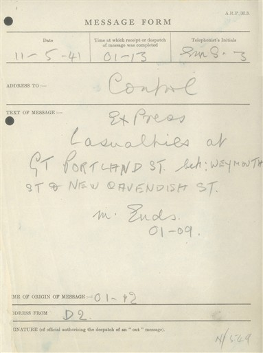 Photo:St Marylebone ARP Post D2 Message Form, 11 May 1941
