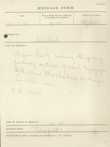 Photo:St Marylebone ARP Message, Central Synagogue, Hallam Street, 30 May 1941