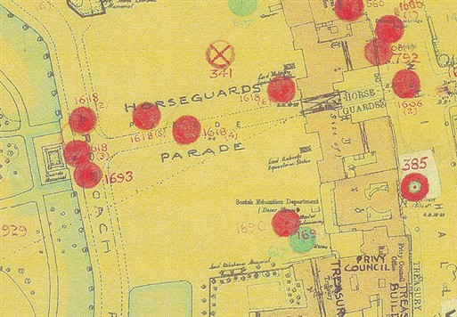 Photo:Bomb Map: Horse Guards Parade