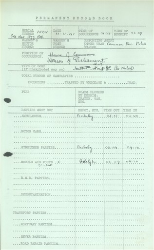 Photo:Bomb Damage Report, House of Commons, 11 May 1941