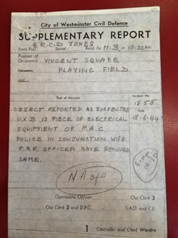 Photo:ARP Supplementary Report, Vincent Square, 18 June 1944
