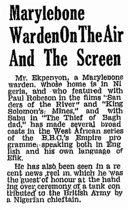 Photo:25 March 1944 Newspaper clipping from The Willesden Citizen describing Ekpenyon's film career