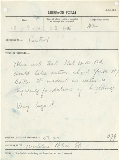 Photo:ARP Message Form, York and Baker Street junction, 18 September 1940