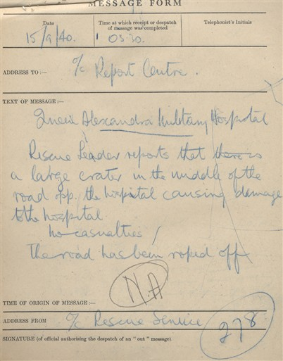 Photo:ARP Message Form for Queen Alexandra's Military Hospital