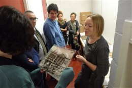 Photo:Local Studies Librarian, Judith Bottomley, shows volunteers pictures of the City of Westminster Archives collection