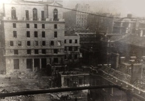 Photo:Bomb damage near Marlborough Gate, February 1944
