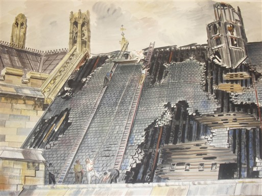 Photo:Vivian Pitchforth, View of damage to roof of Westminster Hall, 1941