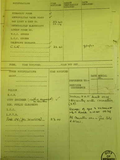 Photo:Grosvenor Hotel: Back of Incident Report, 9 October 1940
