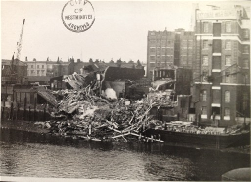 Photo:Hovis Flour Mill and Wharf after being destroyed by a high explosive bomb, December 1940