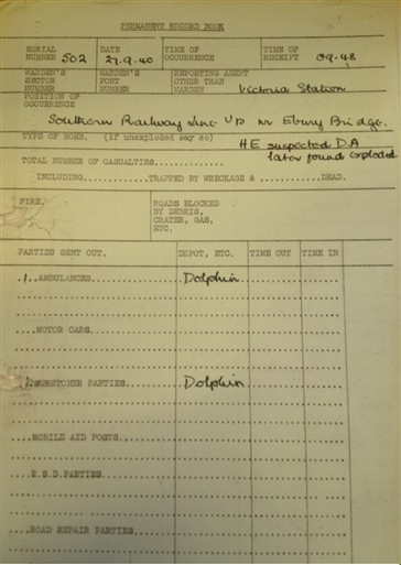 Photo:Victoria Station Approaches Incident Report, 27 September 1940