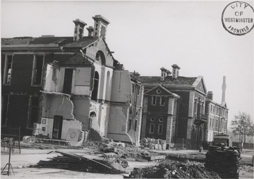 Photo:Damage caused to Queen Alexandra's Military Hospital, Millbank